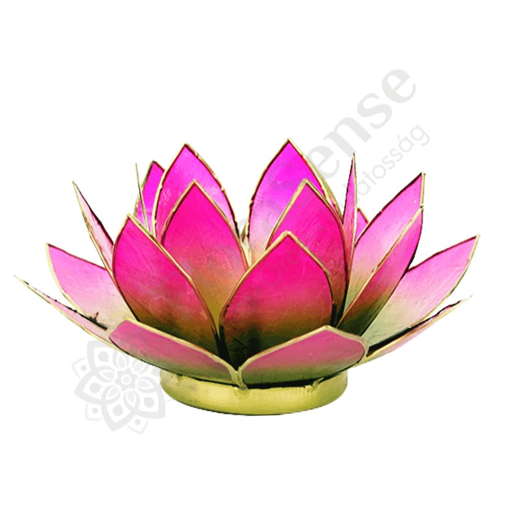 Capiz lótusz mécsestartó zöld-rózsaszín - arany peremmel - FLORASENSE 80e24d48da